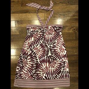 BCBG MAXAZRIA Tropical Print Halter with Tie Neck